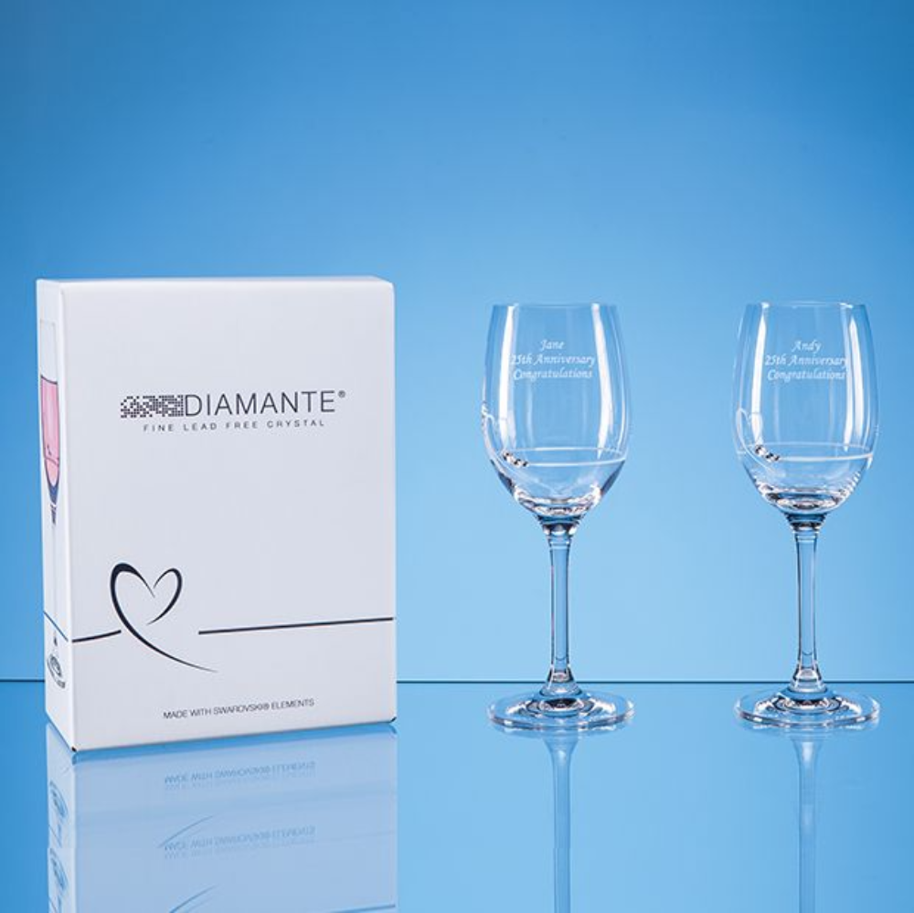 Diamante Petit Wine Glasses With Heart Design In An Attractive Gift Box 2
