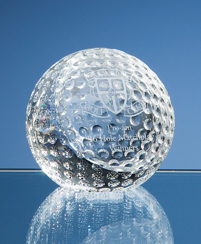 optical crystal golf ball paperweight 80mm trophymaster uk