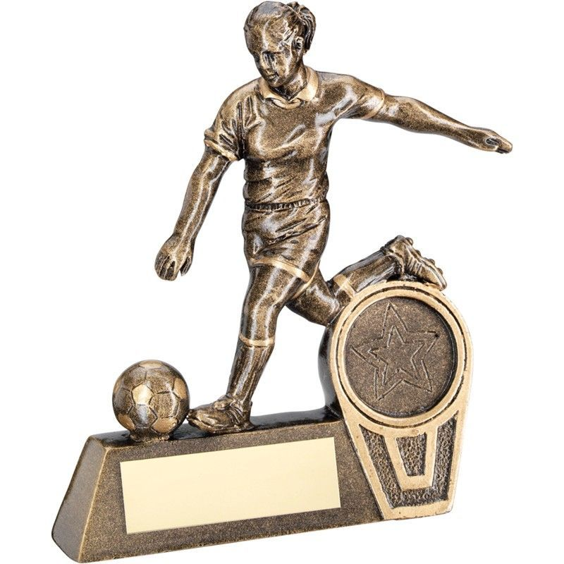 "Brz/Gold Mini Female Football Figure Trophy 102mm (4"") 